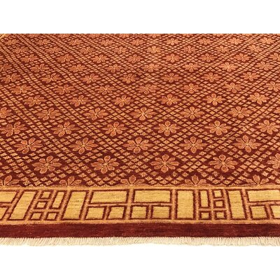 Badham Hand-Knotted Rectangle Wool Red Area Rug