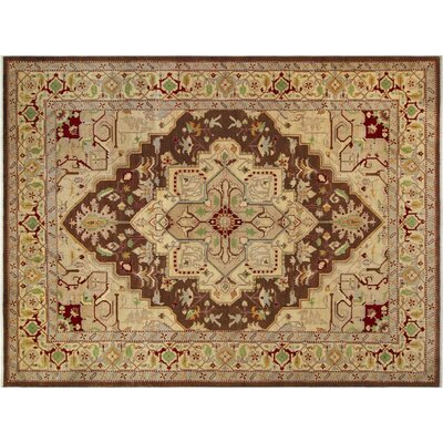 Badham Hand-Knotted Wool Brown/Light Tan Area Rug