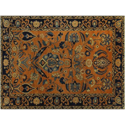 Badham Hand-Knotted Wool Orange/Blue Area Rug