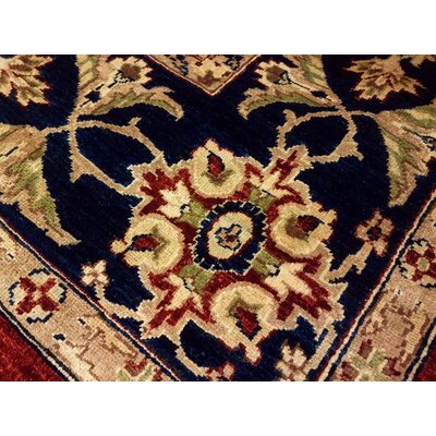 Xenos Traditional Hand-Knotted Wool Red/Blue Area Rug