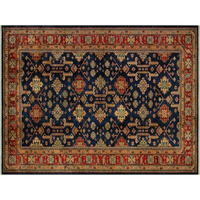 Baldwin Park Hand-Knotted Rectangle Wool Blue/Red Area Rug