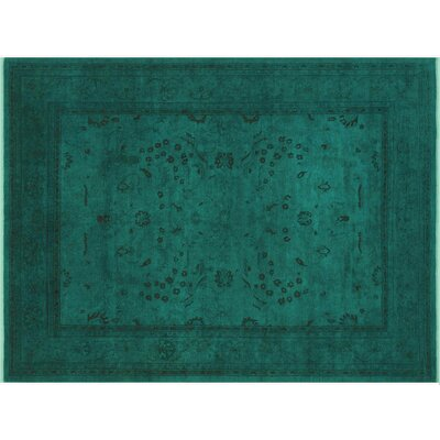 Badillo Hand-Knotted Rectangle Wool Green Area Rug