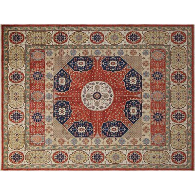 Baldwin Park Hand-Knotted Wool Red/Ivory Oriental Area Rug
