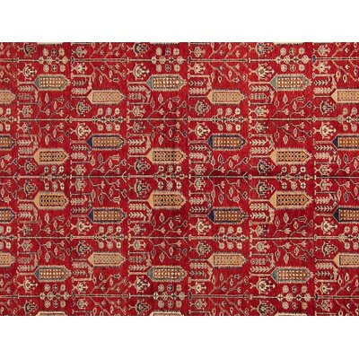 Baldwin Park Hand-Knotted Rectangle Wool Red/Ivory Area Rug