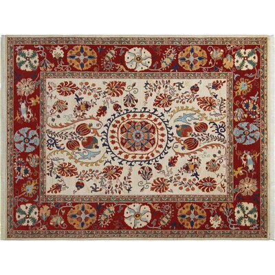 Baldwin Park Hand-Knotted Wool Ivory/Red Oriental Area Rug