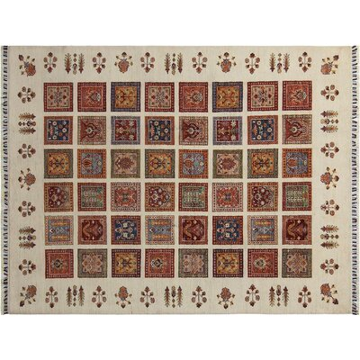 Baldwin Park Hand-Knotted Rectangle Wool Ivory/Red Area Rug