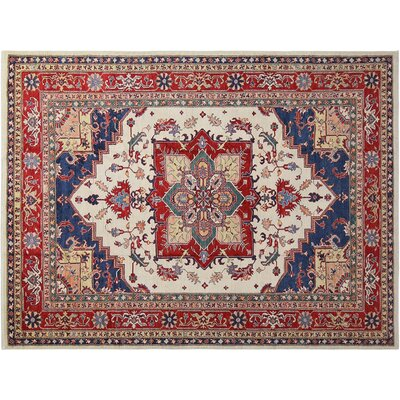 Baldwin Park Hand-Knotted Wool Ivory/Red Area Rug