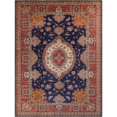 Baldwin Park Hand-Knotted Wool Blue/Red Area Rug
