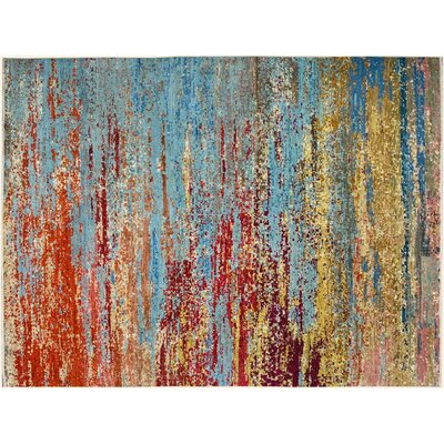 Poirier Hand-Knotted Wool Light Blue/Red Area Rug