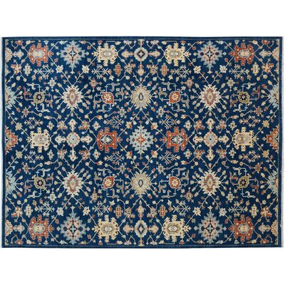 Badham Hand-Knotted Wool Blue/Orange Area Rug