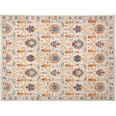 Badham Modern Hand-Knotted Wool Ivory/Blue Area Rug