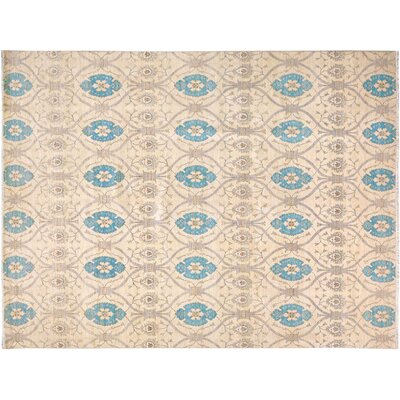 Badham Hand-Knotted Rectangle Wool Ivory/Blue Oriental Area Rug