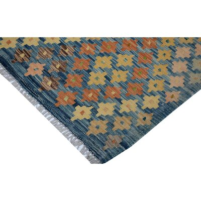 Bakerstown Hand-Woven Wool Blue/Rust Area Rug