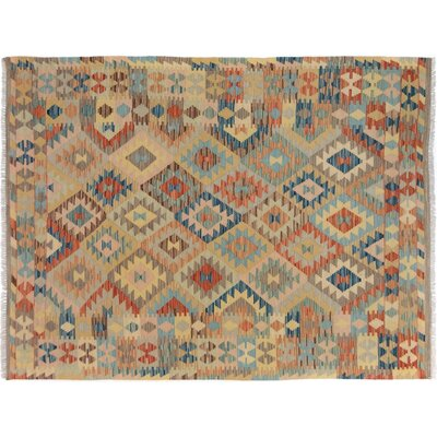 Bakerstown Hand-Woven Wool Gray/Blue Geometric Reversible Area Rug