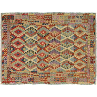 Bakerstown Hand-Woven Rectangle Wool Blue/Red Area Rug