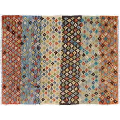 Bakerstown Hand-Woven Wool Blue/Orange Area Rug