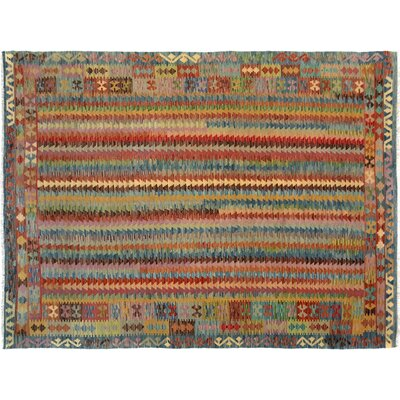 Bakerstown Hand-Woven Wool Blue/Beige Area Rug