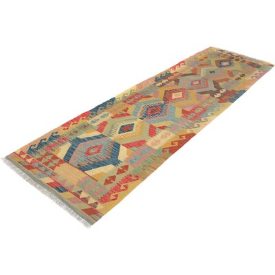 Bakerstown Hand-Woven Runner Wool Tan/Blue Area Rug