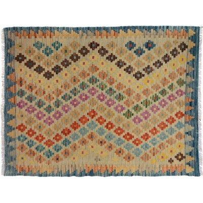 Bakerstown Hand-Woven Wool Blue/Beige Geometric Area Rug