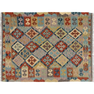Bakerstown Hand-Woven Rectangle Wool Gray/Blue Area Rug