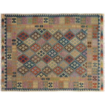 Bakerstown Hand-Woven Wool Blue/Gold Geometric Area Rug
