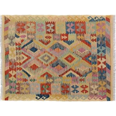 Bakerstown Hand-Woven Wool Beige/Blue Oriental Area Rug