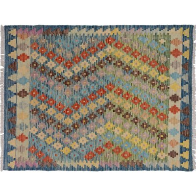 Bakerstown Hand-Woven Rectangle Wool Blue/Gray Area Rug