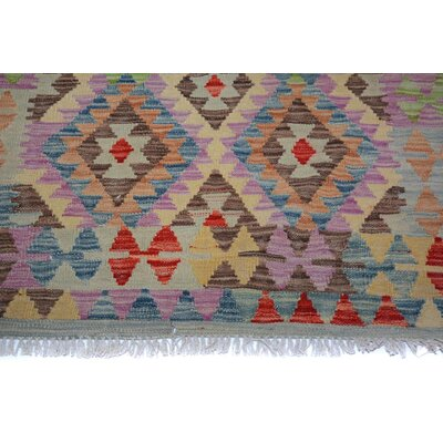 Bakerstown Hand-Woven Wool Gray/Blue Geometric Area Rug