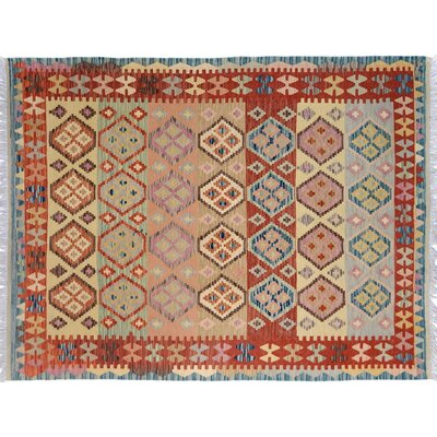 Bakerstown Hand-Woven Rectangle Wool Blue/Rust Area Rug