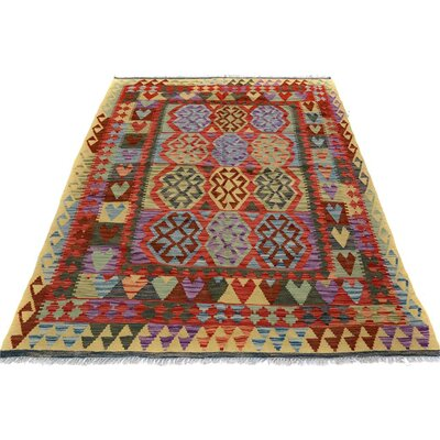 Bakerstown Hand-Woven Wool Gold/Red Area Rug