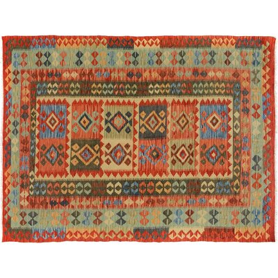 Bakerstown Hand-Woven Wool Red/Blue Oriental Area Rug