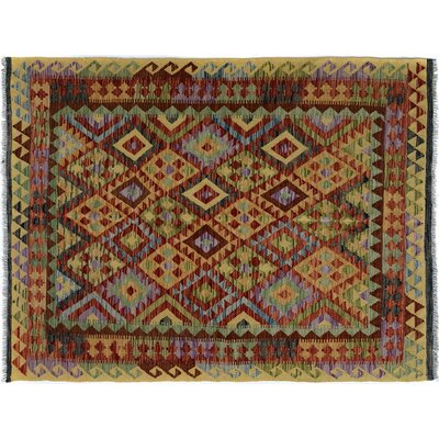 Bakerstown Hand-Woven Rectangle Wool Gold/Red Oriental Area Rug