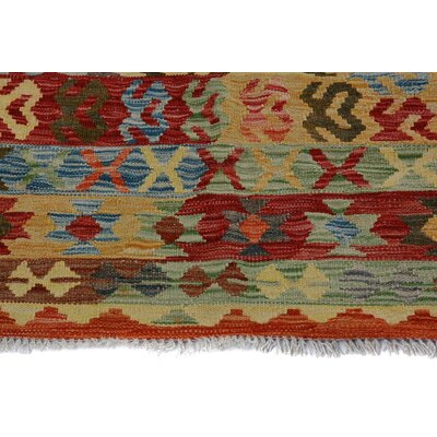 Bakerstown Hand-Woven Rectangle Wool Red/Blue Area Rug