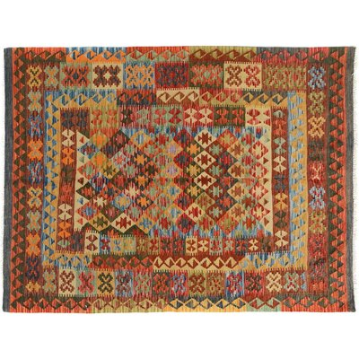 Bakerstown Hand-Woven Wool Gray/Red Area Rug