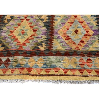 Bakerstown Hand-Woven Wool Blue/Gold Area Rug