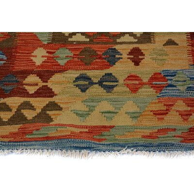 Bakerstown Hand-Woven Runner Wool Blue/Gold Area Rug