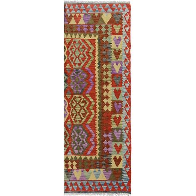 Bakerstown Hand-Woven Wool Blue/Red Area Rug