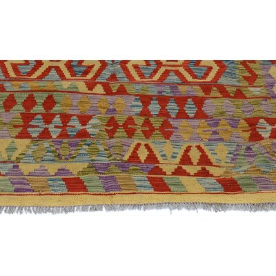 Bakerstown Hand-Woven Wool Gold/Red Geometric Area Rug