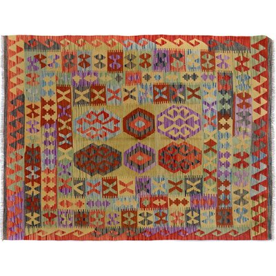 Bakerstown Hand-Woven Wool Red/Blue Area Rug