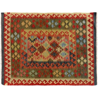 Bakerstown Hand-Woven Rectangle Wool Red/Gold Area Rug