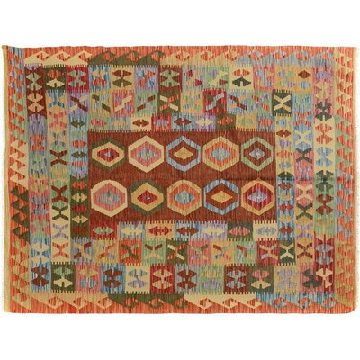 Bakerstown Hand-Woven Rectangle Wool Gold/Rust Area Rug