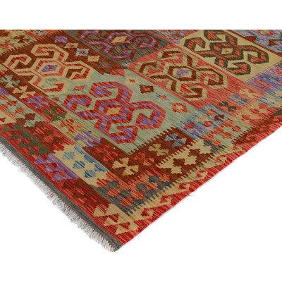 Bakerstown Hand-Woven Rectangle Wool Gray/Red Area Rug
