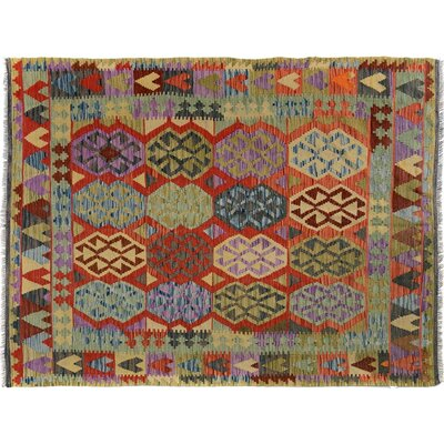 Bakerstown Hand-Woven Wool Blue/Red Geometric Area Rug