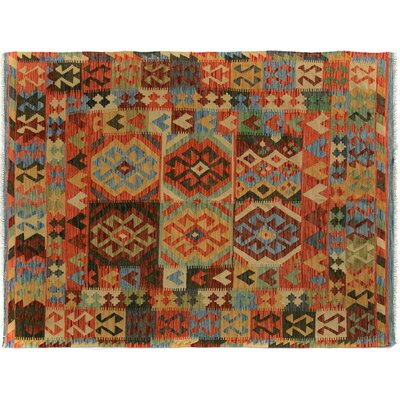 Bakerstown Hand-Woven Rectangle Wool Blue/Gold Area Rug