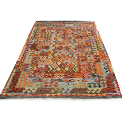 Bakerstown Hand-Woven Rectangle Wool Blue/Orange Area Rug