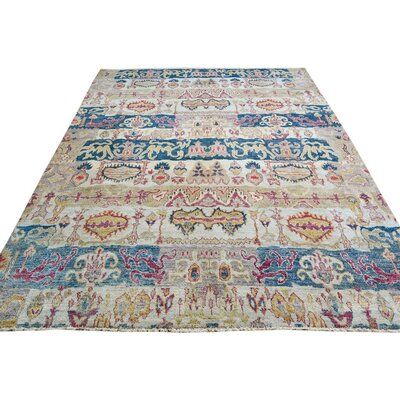Badham Hand-Knotted Rectangle Wool Gray/Blue Area Rug