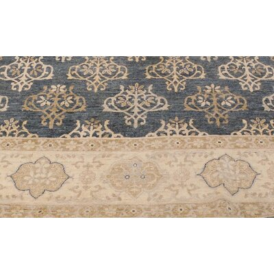 Xenos Oriental Hand-Knotted Rectangle Wool Gray/Ivory Area Rug
