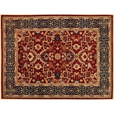Badham Hand-Knotted Wool Red/Blue Oriental Area Rug