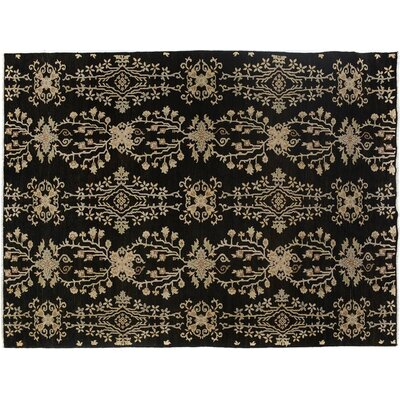 Badham Hand-Knotted Wool Black Area Rug