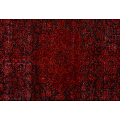 Badillo Hand-Knotted Wool Red/Black Area Rug